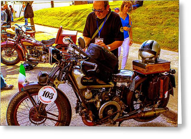 Moto Guzzi At Cannonball Motorcycle Greeting Card