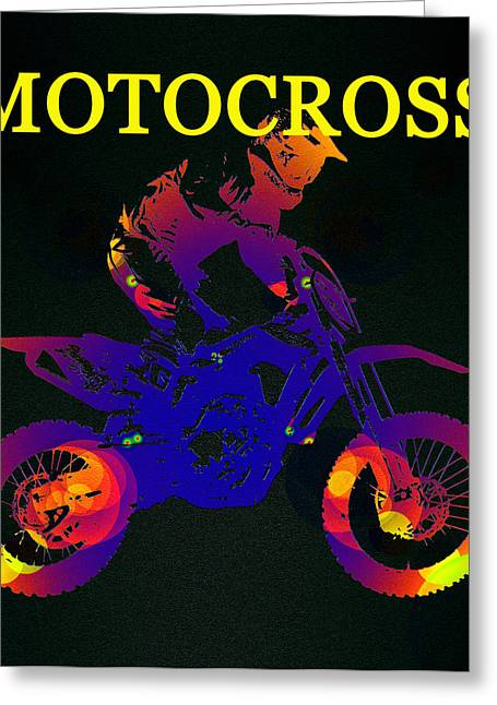 Motocross Color Work A Greeting Card by David Lee Thompson