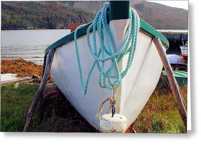 Motor Boat - Up For The Winter - Fishing Greeting Card by Barbara Griffin