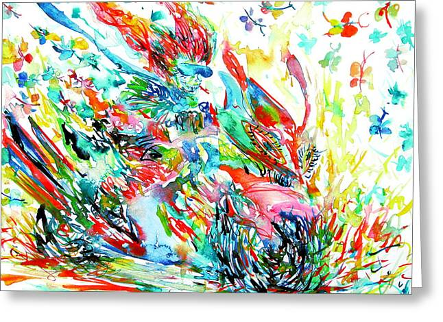 Motor Demon With Butterflies Greeting Card by Fabrizio Cassetta