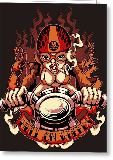 Motor Race Pin-up Girl Greeting Card by Fatline