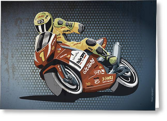 Motorbike Racing Grunge Color Greeting Card by Frank Ramspott