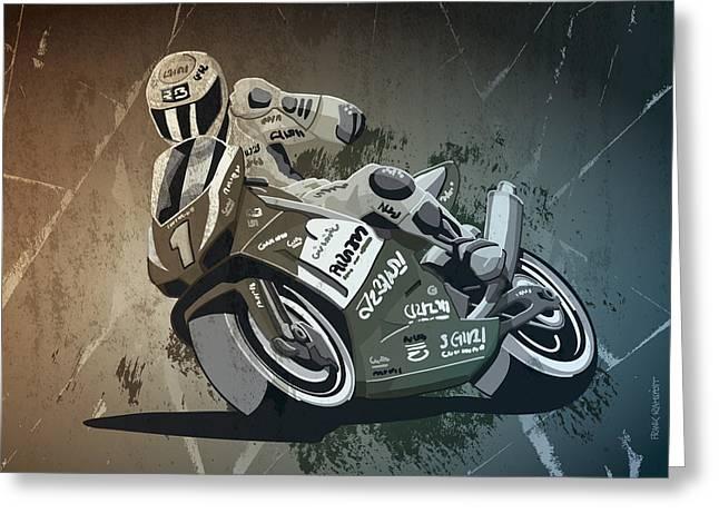 Motorbike Racing Grunge Monochrome Greeting Card by Frank Ramspott