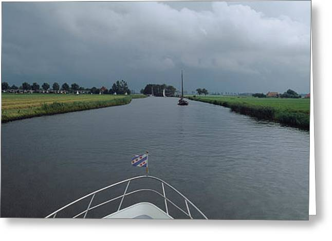 Motorboat In A Canal, Friesland Greeting Card by Panoramic Images