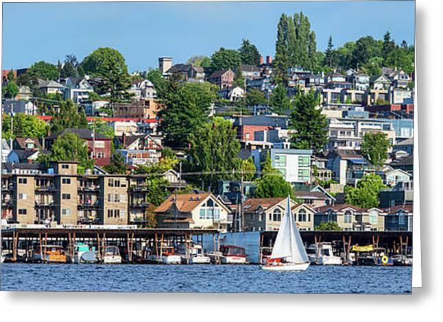 Motorboats Along Lake Union, Seattle Greeting Card