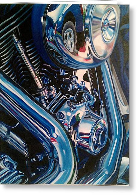 Motorcycle Abstract Greeting Card by Molly Gossett