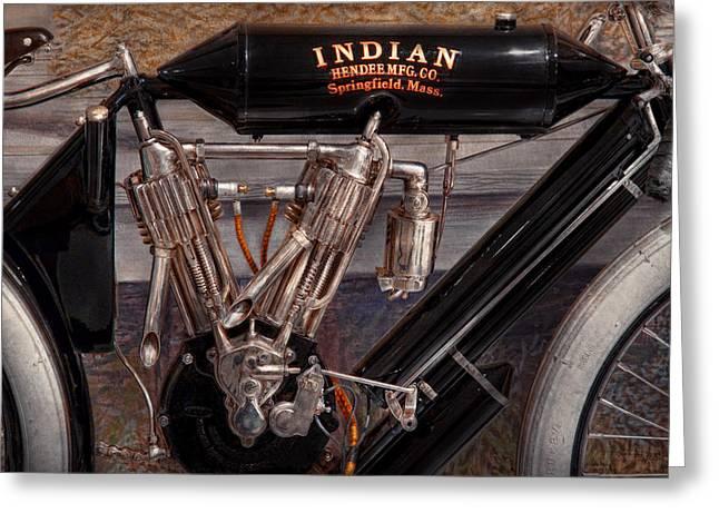 Motorcycle - An Oldie But A Goodie  Greeting Card by Mike Savad