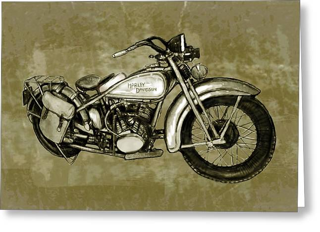 Motorcycle Art Sketch Poster Greeting Card by Kim Wang