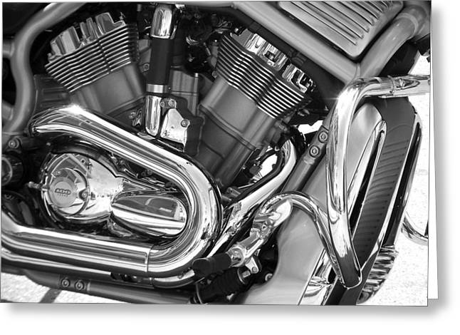 Motorcycle Close-up Bw 1 Greeting Card