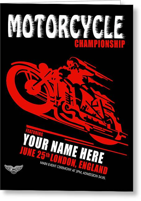 Motorcycle Customized Poster 2 Greeting Card by Mark Rogan