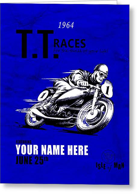 Motorcycle Customized Poster 3 Greeting Card by Mark Rogan