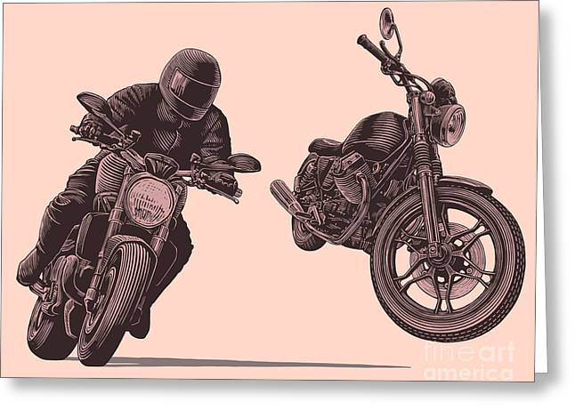 Motorcycle. Hand Drawn Engraving Greeting Card by Marzufello