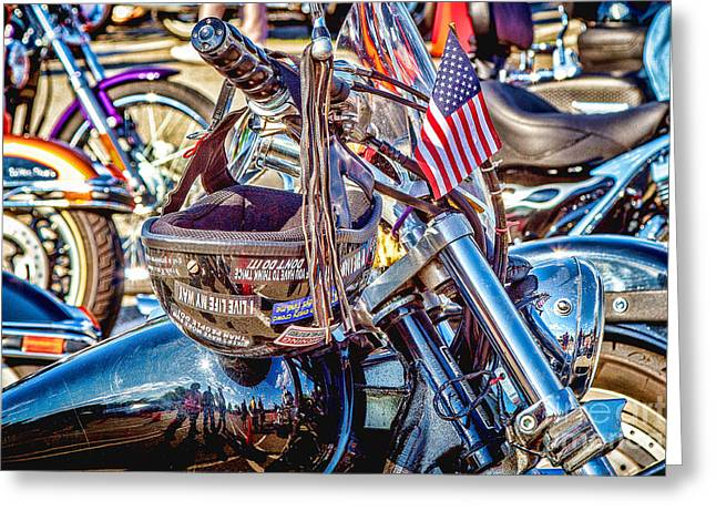 Greeting Card featuring the photograph Motorcycle Helmet And Flag by Eleanor Abramson