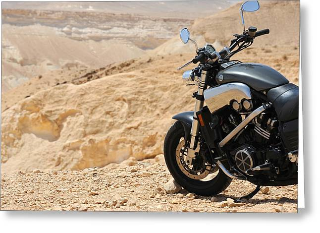 Motorcycle In A Desert Greeting Card