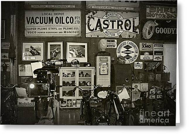 Motorcycle Museum - Oils - Old Signage Greeting Card by Kaye Menner