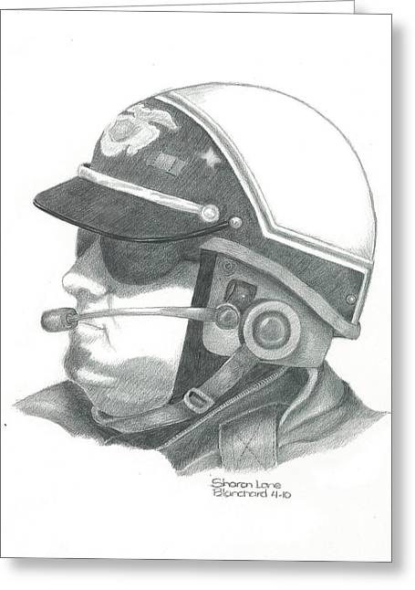Motorcycle Officer On The Job Greeting Card by Sharon Blanchard