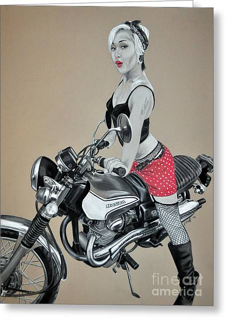 Motorcycle Pin Up Greeting Card