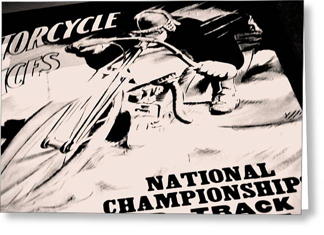 Motorcycle Races Poster Greeting Card by Chastity Hoff