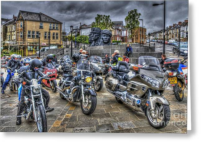 Motorcycle Rally 3 Greeting Card by Steve Purnell