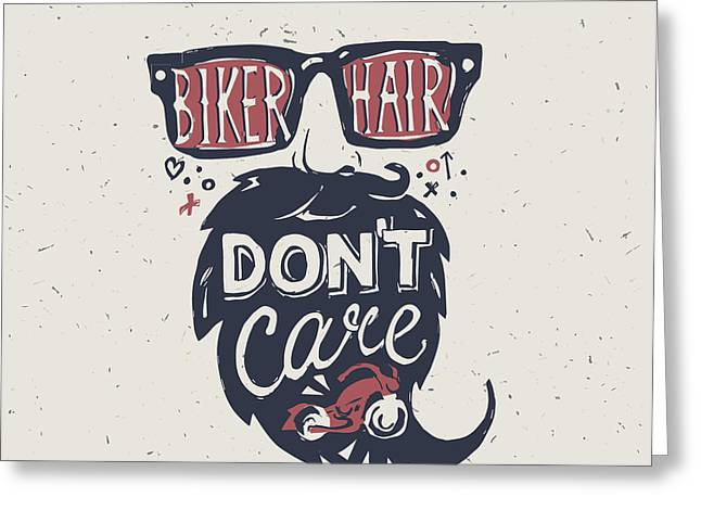 Motorcycle Rider . Biker Hair Dont Greeting Card