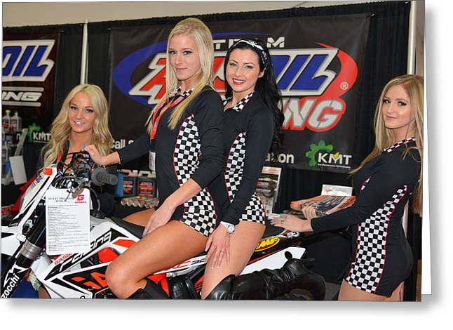 Motorcycle Show Girls Greeting Card