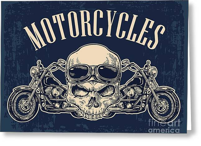 Motorcycle Side View And Skull With Greeting Card