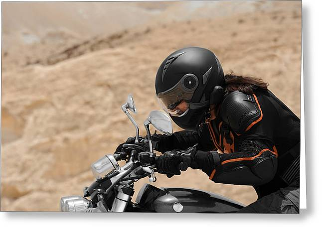 Motorcyclist In A Desert Greeting Card