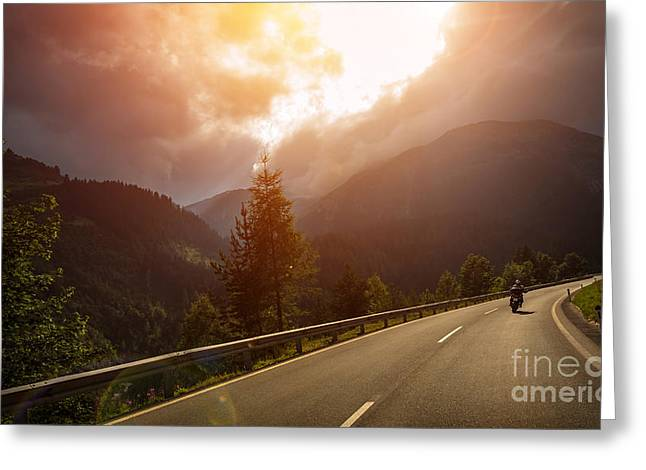 Motorcyclist In Action In Sunset Light Greeting Card by Anna Om