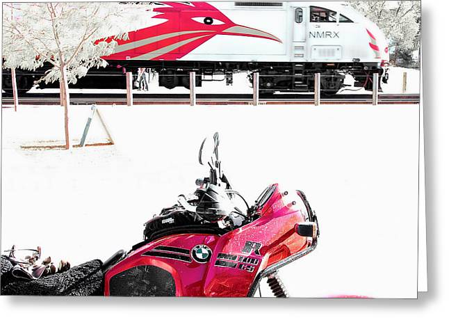 Motorcyle And Train Greeting Card