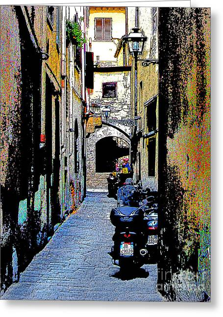 Greeting Card featuring the digital art Motorcyle In Florence Alley by Jennie Breeze