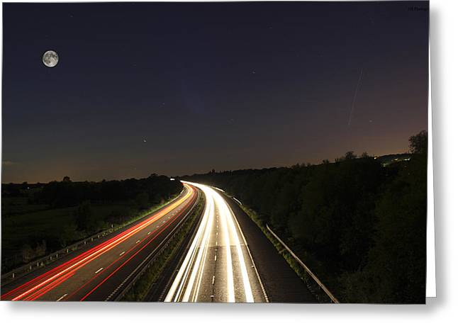 Motorway Light Trails Greeting Card by Jay Harrison