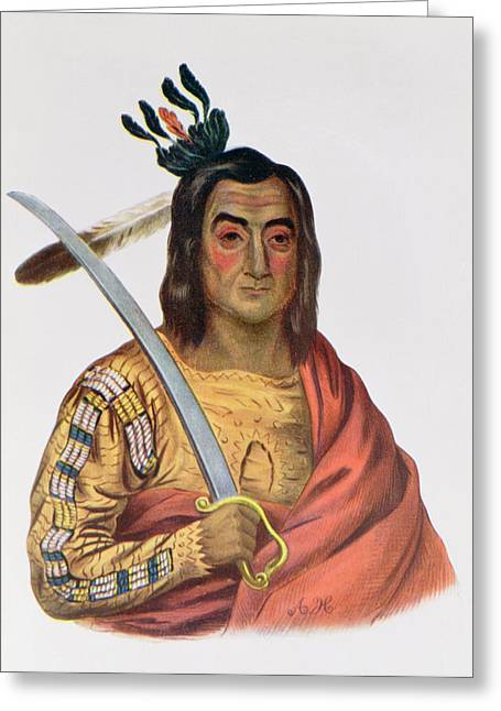 Mou-ka-ush-ka Or The Trembling Earth, A Yankton Sioux Chief, Illustration From The Indian Tribes Greeting Card