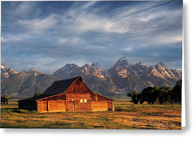 Moulton Barn Morning Light Greeting Card by Leland D Howard