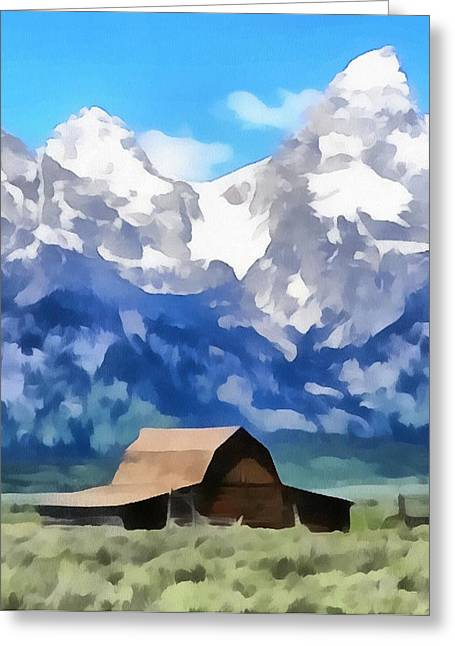Moulton Barn Painting Greeting Card by Dan Sproul