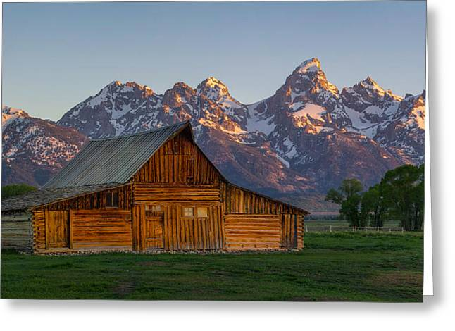 Moulton Barn Sunrise Greeting Card by Aaron Spong