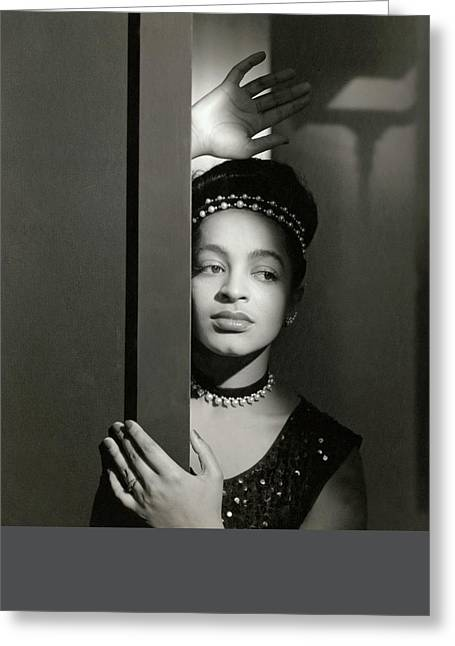 Moune Posing By A Wall Greeting Card by Horst P. Horst