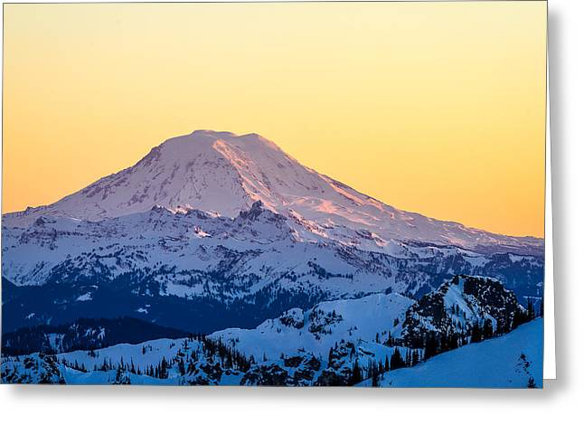 Mount Adams Sunset Greeting Card by Ken Stanback