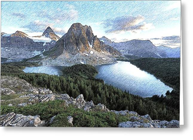 Mount Assiniboine In Pencil Greeting Card by Maciek Froncisz