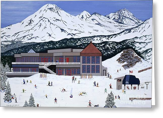 Greeting Card featuring the painting Mount Bachelor by Jennifer Lake