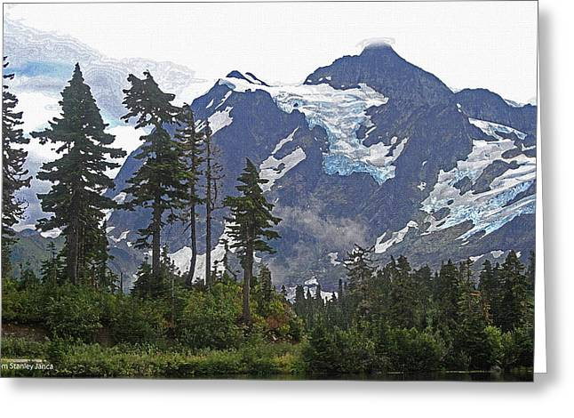 Greeting Card featuring the photograph Mount Baker And Fir Trees And Glaciers And Fog by Tom Janca