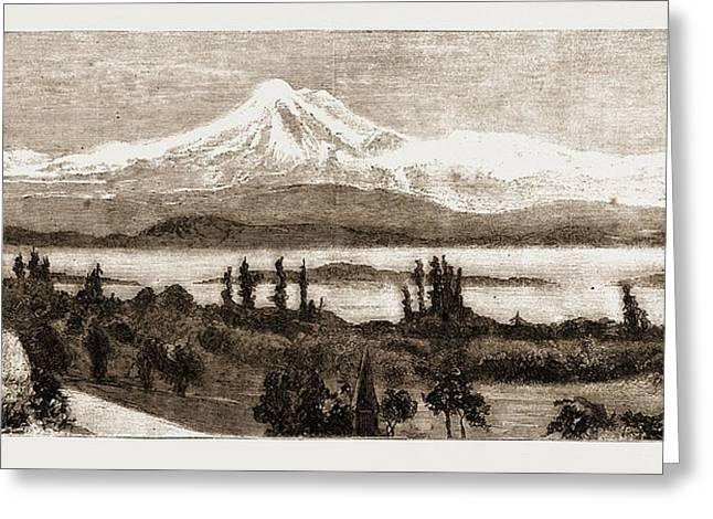 Mount Baker And San Juan Island As Seen Through A Field Greeting Card