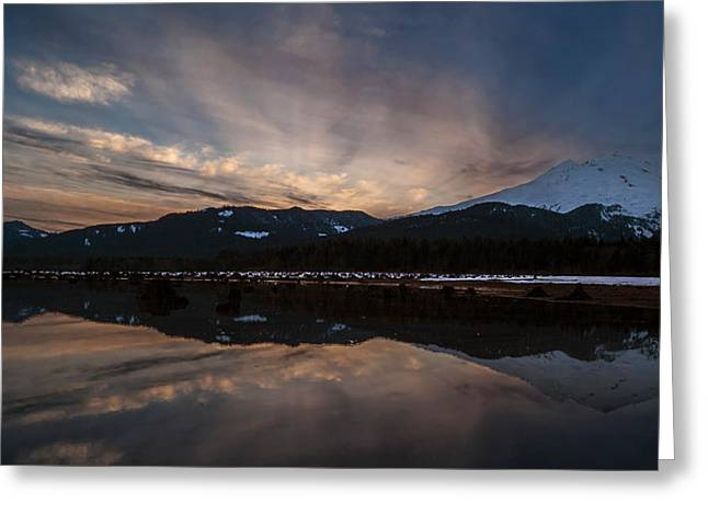 Mount Baker Sunset Greeting Card by Mike Reid