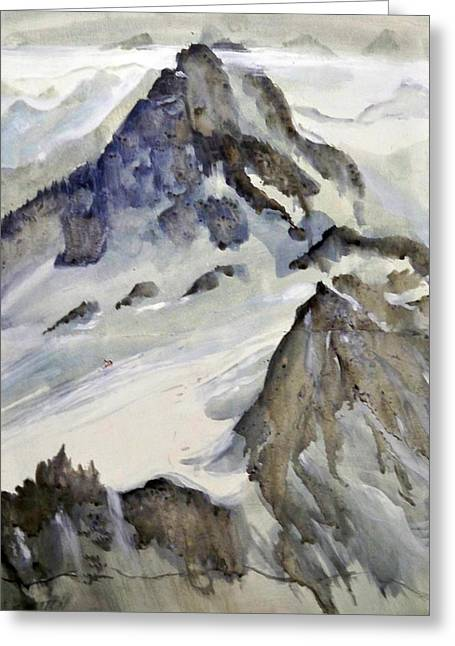 Greeting Card featuring the painting Mount Blanc by Ed  Heaton