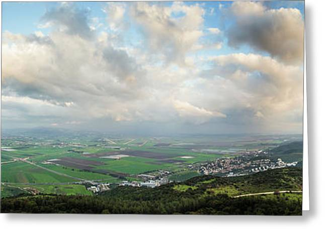 Mount Carmel And Jezreel Valley  Israel Greeting Card by Reynold Mainse