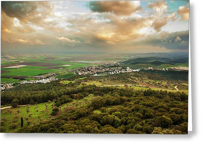 Mount Carmel With Glowing Clouds Greeting Card by Reynold Mainse