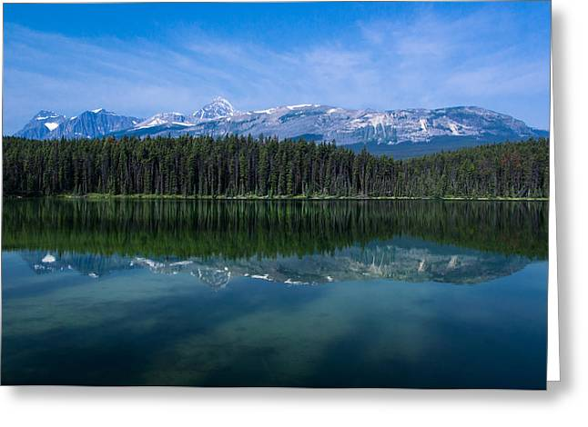 Mount Edith Cavell From Leach Lake.  Greeting Card by Cale Best