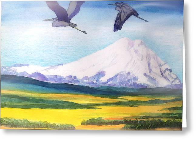Mount Elbrus Watching Blue Herons Fly Over Sunflower Fields Greeting Card