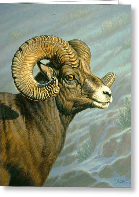 Mount Everts Ram Greeting Card by Paul Krapf