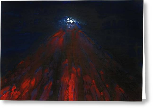 Mount Fuji By Night 2003 Greeting Card