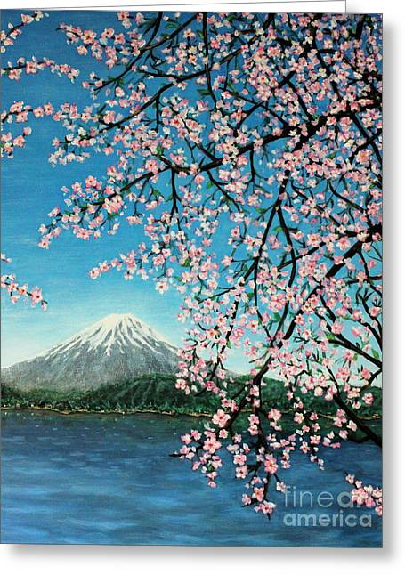 Mount Fuji Cherry Blossoms Greeting Card by Sheena Kohlmeyer